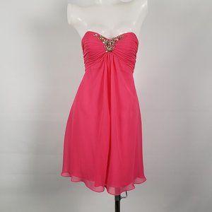 Liz Fields Pink Rhinestone Cocktail Dress Size S